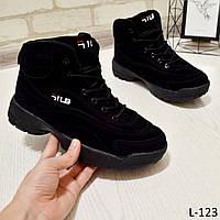 Кроссовки женские высокие, черные, теплые, удобные, женская зимняя обувь