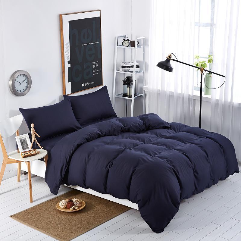 Постельное белье Постельное белье однотонный Синий темный поплин Lux ТМ Царский дом  (Евро)