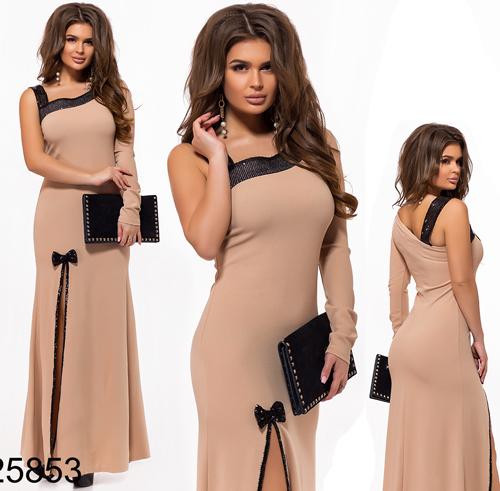 Вечернее платье длинное с пайетками бежевый 825853