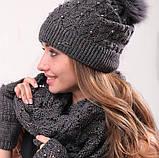 Розовый женский комплект тройка шапка+шарф+митенки, фото 3
