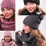 Розовый женский комплект тройка шапка+шарф+митенки, фото 2