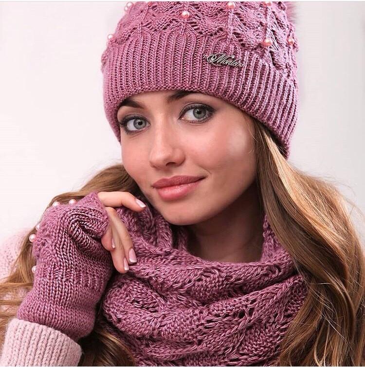 Розовый женский комплект тройка шапка+шарф+митенки