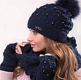 Розовый женский комплект тройка шапка+шарф+митенки, фото 6