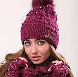 Розовый женский комплект тройка шапка+шарф+митенки, фото 7