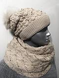 Розовый женский комплект тройка шапка+шарф+митенки, фото 8