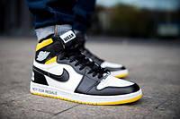 """Кросівки зимові Air Jordan 1 Retro High SE OG """"SATIN"""" жовті з білим (ТОП репліка), фото 1"""