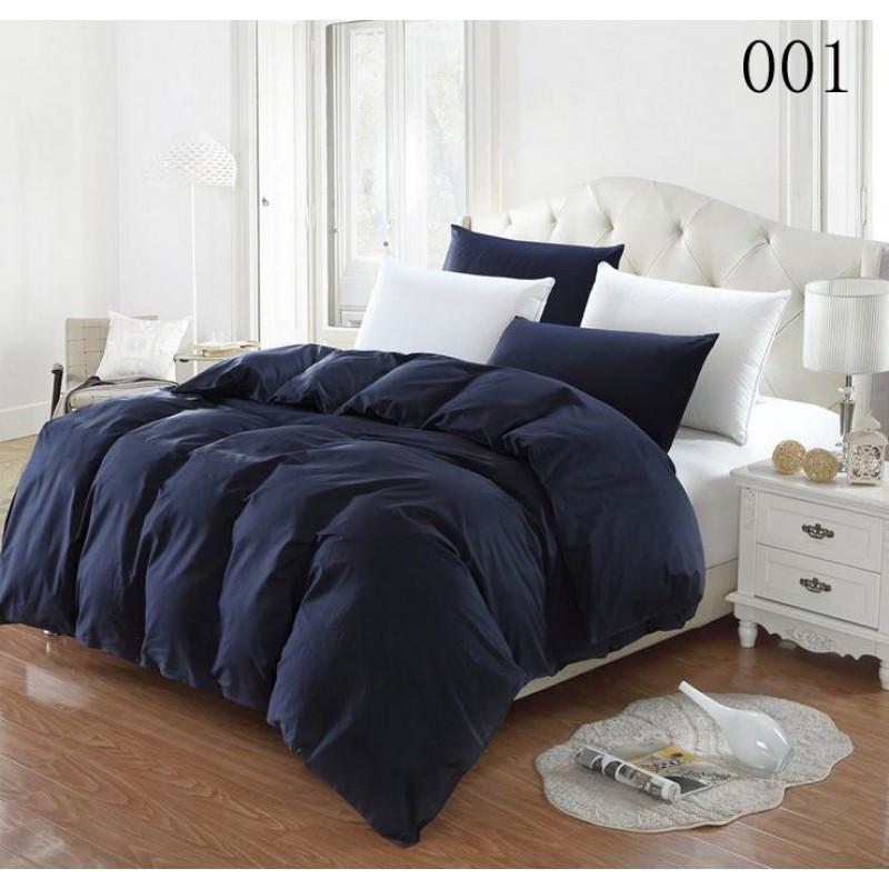 Постельное белье Постельное белье однотонный Синий темный+Белоснежный микс поплин Lux ТМ Царский дом  (Двуспальный)