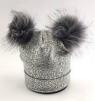 Оптом шапка детская с 52 по 58 размер ангора пампонами шапки детские головные уборы опт, фото 1