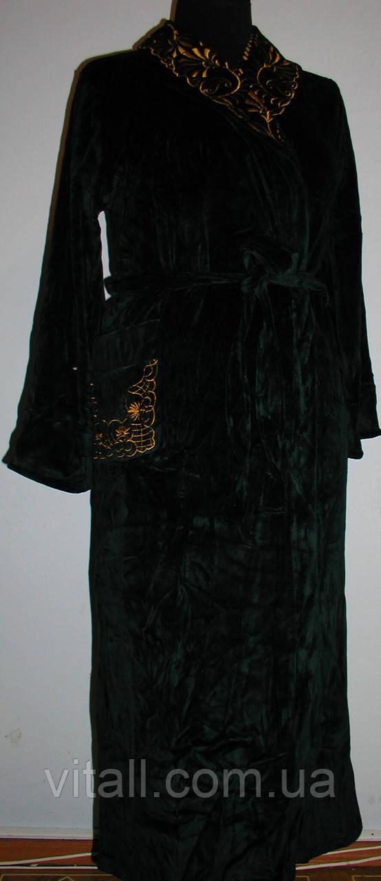 Халат  велюровый длинный с вышитым воротником темно зеленый