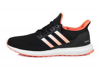 Мужские кроссовки Adidas Ultra Boost Black Orange | Адидас ультра буст черно - оранжевые