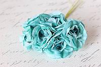 Декоративный цветок чайной розы диаметр 4 см бирюзового цвета, фото 1