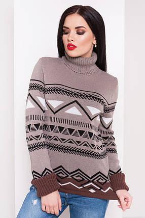 Женский теплый вязаный свитер Слойка(капучино, белый, шоколад, черный), фото 2