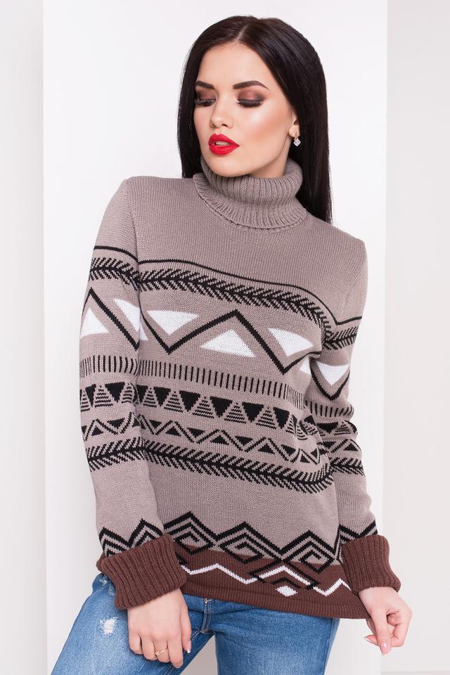 Женский теплый вязаный свитер Стрелки (капучино, белый, шоколад, черный)