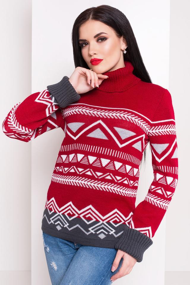Женский теплый вязаный свитер Стрелки (вишня, светло-серый, графит, белый)