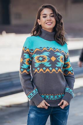 Женский теплый вязаный свитер Стрелки (графит, мята, горчица), фото 2