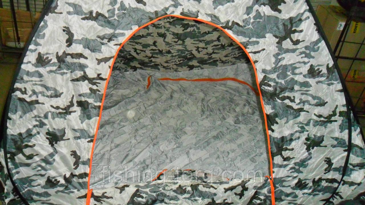 Палатка зимняя автомат 2,35*2,35м реально с отстежным клапаном для лунок светло серый камуфляж.