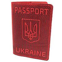 "Обложка на паспорт кожаная ""Герб"" красная, фото 1"