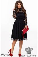 Платье вечернее чёрное с сеткой и брошью