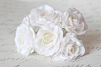 Декоративный цветок чайной розы диаметр 4 см белого цвета, фото 1