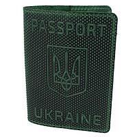 """Обкладинка на паспорт шкіряна """"Герб"""" зелена"""