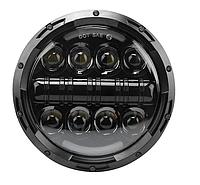 Фара светодиодная LED 7 дюймов, круглая, 1 шт, 60 Вт (УАЗ, ГАЗ, КамАЗ, Jeep Nissan, FJ Cruiser, Harley Davidso