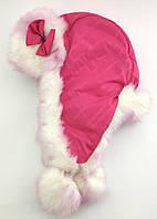 Детская шапка ушанка 52, 54 размер детские головные уборы розовая (УД30)