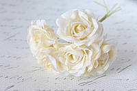 Декоративный цветок чайной розы диаметр 4 см бежевого цвета, фото 1