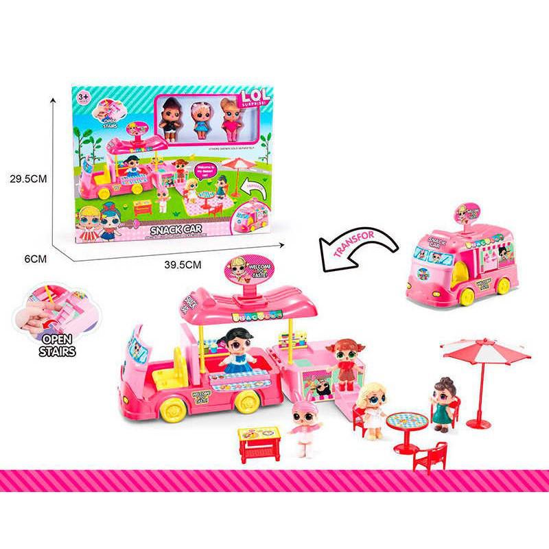 Домик- Кафе автобус лол (lol) для Кукла Л.О.Л (L.O.L surprise), кукла лол 3 шт, мебель, копия
