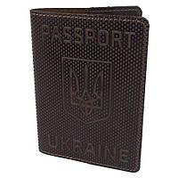 """Обложка на паспорт кожаная """"Герб"""" коричневая"""