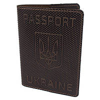 "Обкладинка на паспорт шкіряна ""Герб"" коричнева"