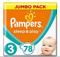 Підгузники дитячі Pampers Sleep&Play Midi 3 (4-9 кг) Jumbo Pack 78 шт