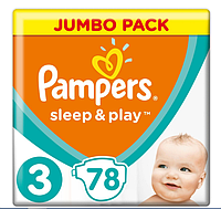 Подгузники Pampers Sleep&Play Midi 3 (4-9 кг) Jumbo Pack 78 шт., фото 1