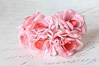 Декоративный цветок чайной розы диаметр 4 см розового цвета, фото 1