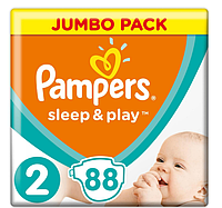 Подгузники Pampers Sleep&Play Mini 2 (3-6 кг) Jumbo Pack 88 шт., фото 1