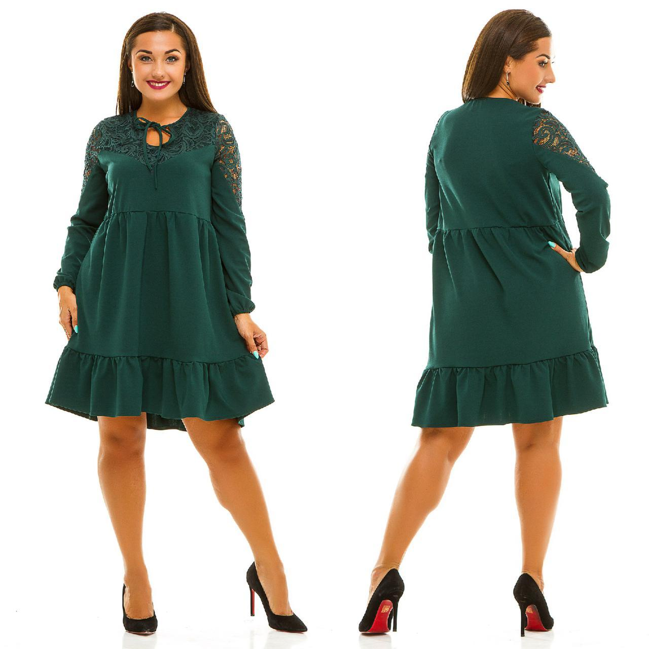 """Комбинированное платье-трапеция """"Margaret"""" с оборкой и гипюром (большие размеры)"""