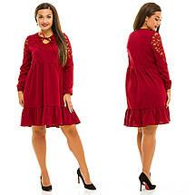 """Комбинированное платье-трапеция """"Margaret"""" с оборкой и гипюром (большие размеры), фото 2"""