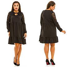 """Комбинированное платье-трапеция """"Margaret"""" с оборкой и гипюром (большие размеры), фото 3"""