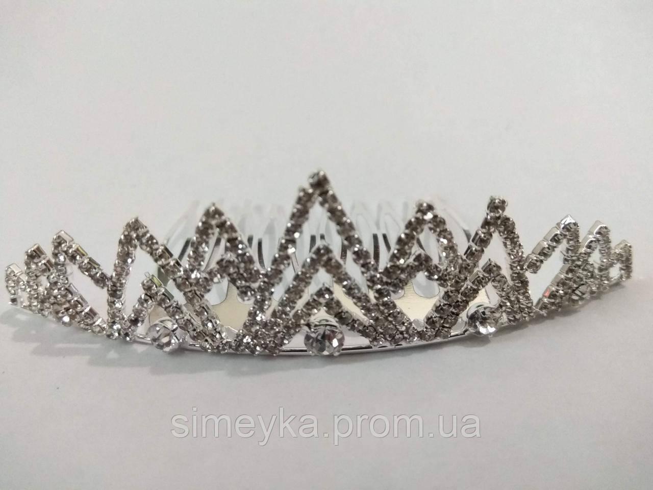 Діадема (корона, тіара) на гребінці, довжина 9 см, висота 2,8 см