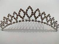 Діадема (корона, тіара) на гребінці, довжина 9 см, висота 2,2 см, фото 1