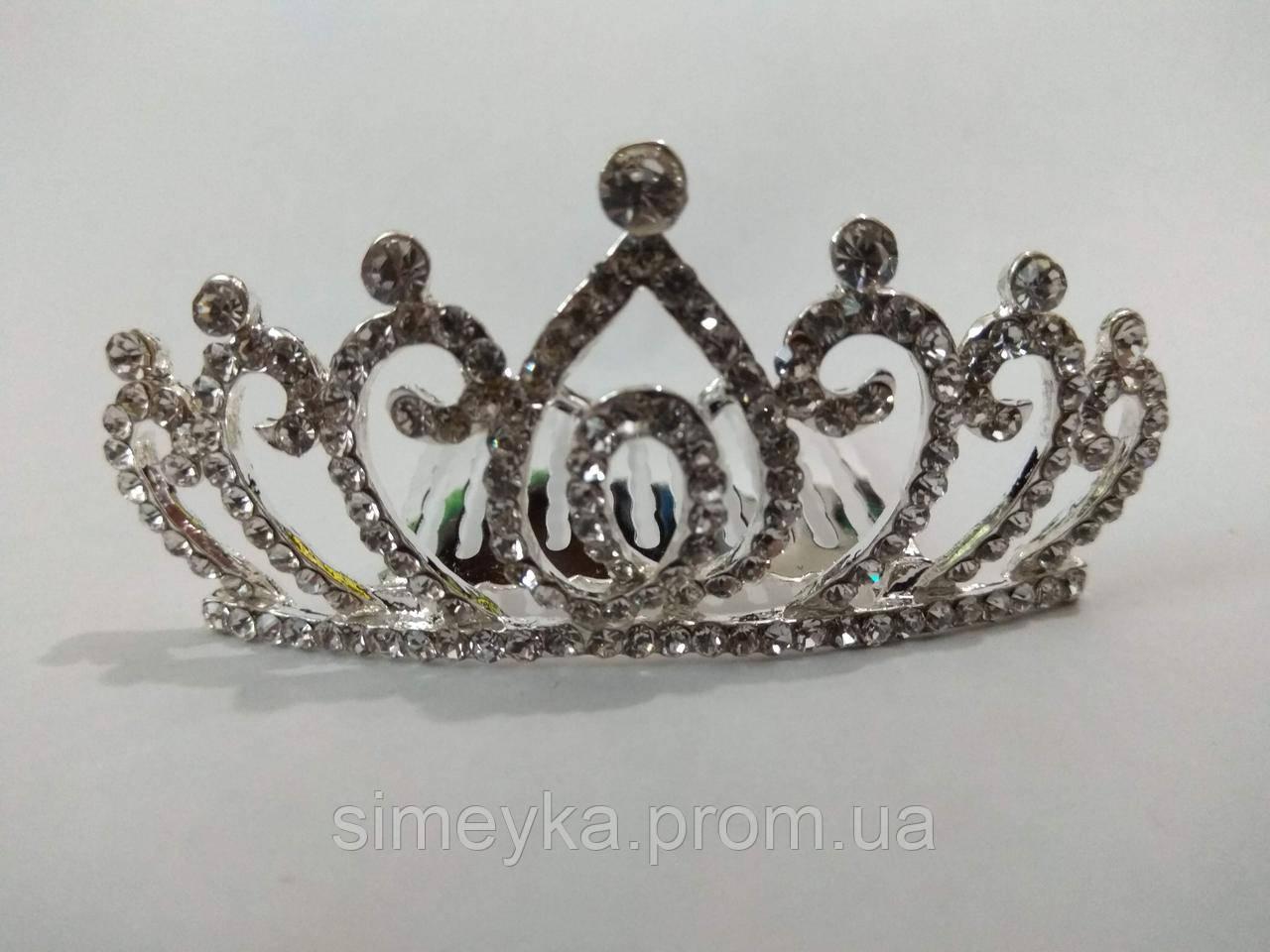 Діадема (корона, тіара) на гребінці, довжина 7 см, висота 3,2 см