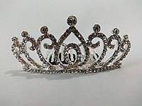 Діадема (корона, тіара) на гребінці, довжина 7 см, висота 3,2 см, фото 1