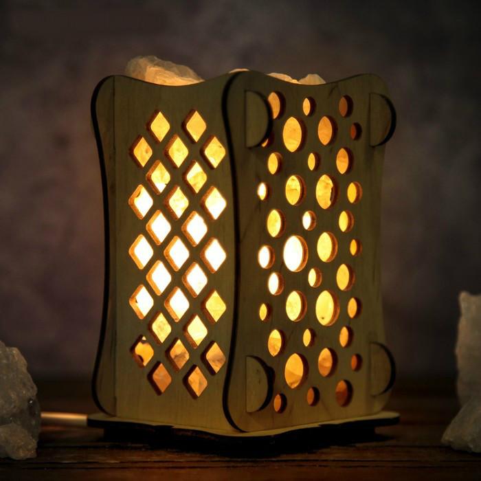 Соляной светильник деревянный  с кристаллами соли Шарики