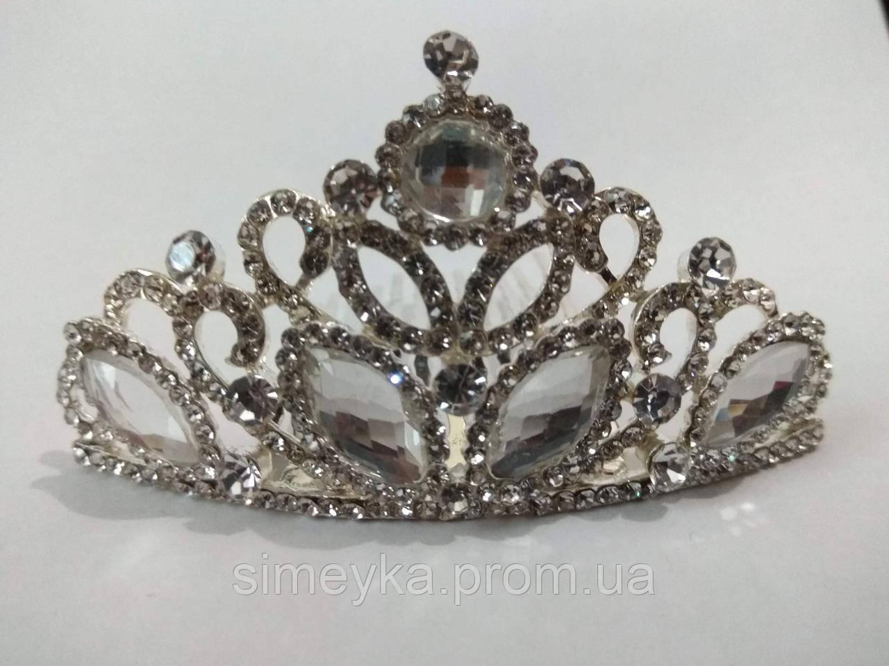 Діадема (корона, тіара) на гребінці, довжина 8 см, висота 4,5 см