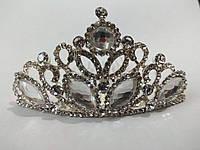 Діадема (корона, тіара) на гребінці, довжина 8 см, висота 4,5 см, фото 1