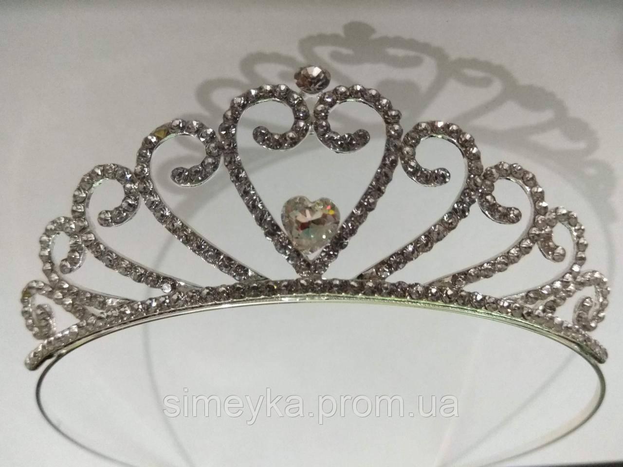 Діадема (корона, тіара) на обручі, довжина 10 см, висота 3,3 см