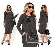 Платье-кокон из ангоры софт с карманами, нашивкой и декоративным защипом по лицевой стороне X9701