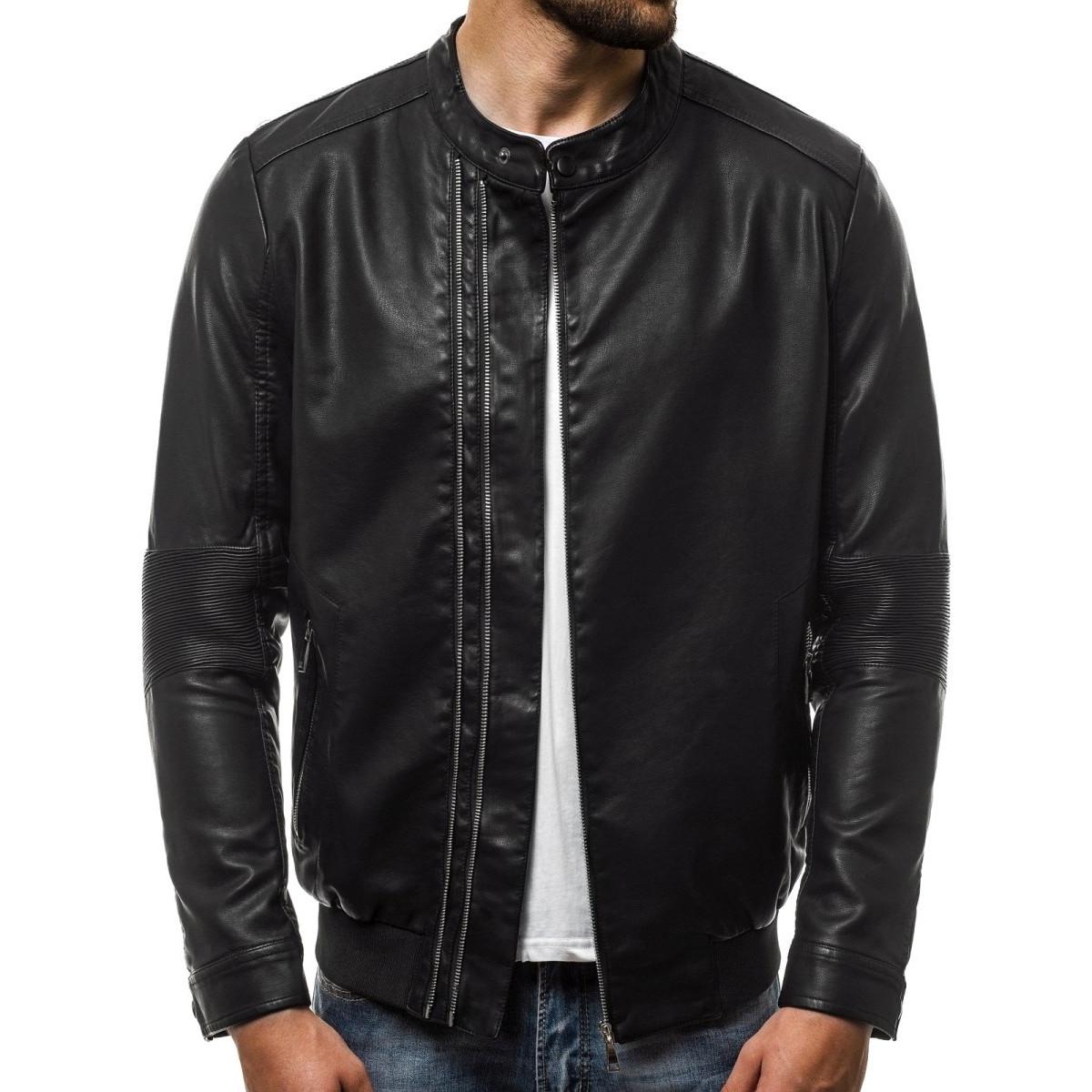 Куртка мужская, кожанка (весна-осень) черная (качественный кожзам)
