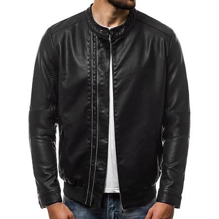 Куртка мужская, кожанка (весна-осень) черная (качественный кожзам), фото 2
