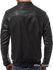 Куртка мужская, кожанка (весна-осень) черная (качественный кожзам), фото 3