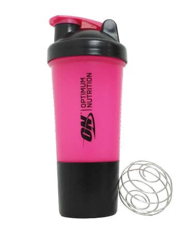 Шейкер Optimum Nutrition Shaker 2 in 1 with metal ball 500 ml black/pink